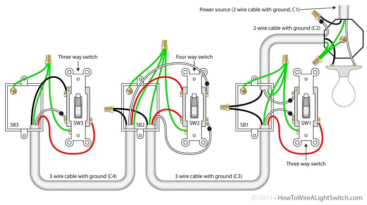 2 Gang 1 Way Light Switch Wiring Diagram Electrical Wiring – 1 Way Light Switch Wiring Diagram